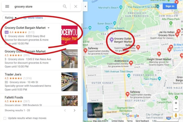 Example of local ads within Google Maps local search
